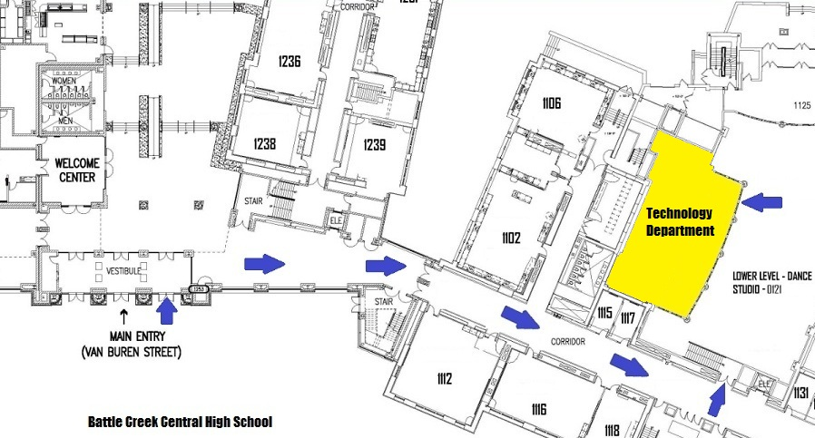 Map to the Technology Department